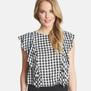 1 STATE ruffle gingham blouse